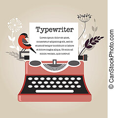 szüret, vektor, írógép