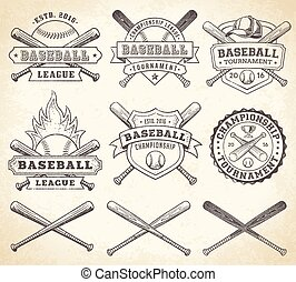 szüret, vektor, baseball, jel