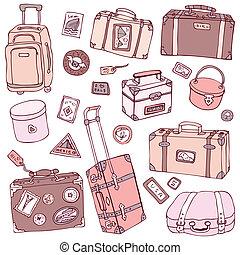 szüret, vektor, gyűjtés, suitcases.