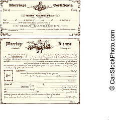 szüret, vektor, házassági anyakönyvi kivonat