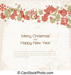 szüret, vektor, karácsonyi üdvözlőlap