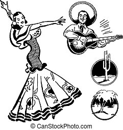 szüret, vektor, mexikói, grafika