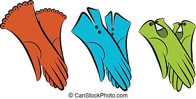 szüret, woman's, karikatúra, gloves.