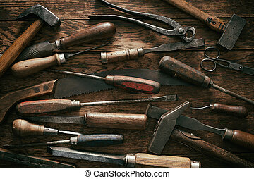 szüret, woodworking, eszközök, háttér, kéz