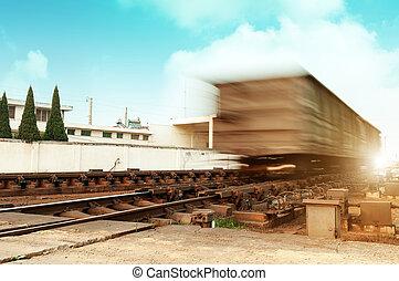 szürkület, train., mozgató, gyorsan, rakomány