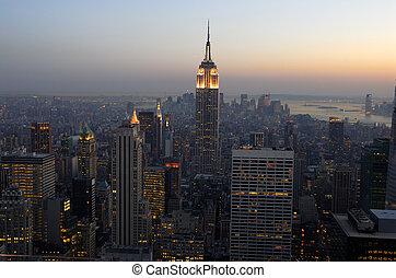 szürkület, város, antenna, felett, york, új, manhattan, ...