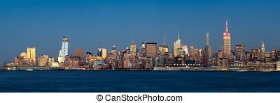 szürkület, város, felhőkarcoló, nyugat, midtown, york, új, manhattan, megvilágít