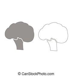szürke, állhatatos, brokkoli, ikon