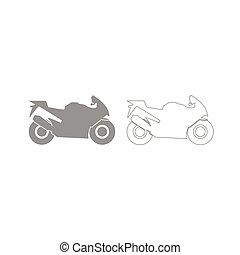 szürke, állhatatos, motorkerékpár, ikon