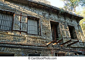 szürke, öreg, barna, windows, épület, feláll, lerombol, épülethomlokzat, kazettás