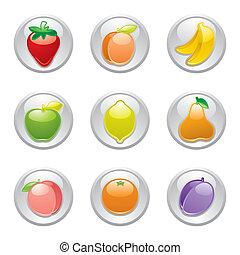 szürke, gombol, gyümölcs