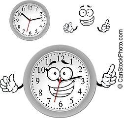 szürke, hivatal óra, fal, betű, karikatúra