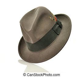 szürke, kalap