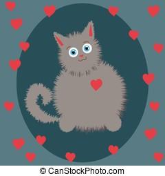 szürke kiscica, képben látható, valentin nap