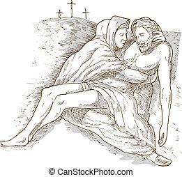 szürke, krisztus, elszigetelt, kereszt, holt, jézus, lemos, kálváriadomb, háttér, anya, fehér, mária