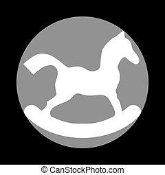 szürke, ló, játékszer, cégtábla., c-hang, háttér., fekete, white körbejár, ikon