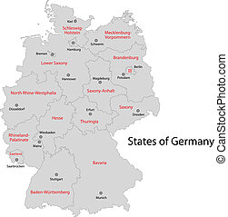 szürke, németország, térkép