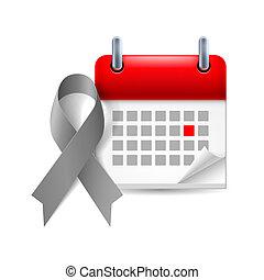 szürke, naptár, tudatosság, szalag