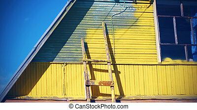 szürke, oda, rendbehozás, eljárás, épület, lépcsőház, kivéve, festett, sárga, suspended., fal