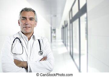 szürke, orvos, kórház, haj, szakvélemény, portré, idősebb ...