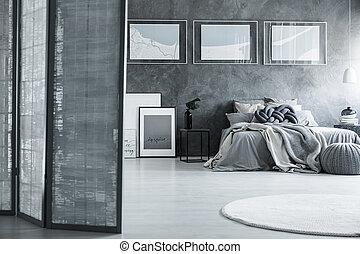 szürke, osztó, szoba, hálószoba