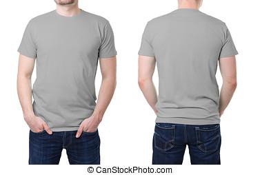 szürke, póló, képben látható, egy, fiatalember, sablon