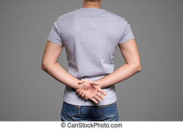 szürke, póló, képben látható, egy, fiatalember, template., hát, nézet., szürke, háttér.