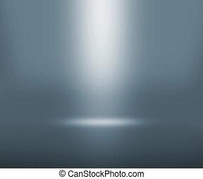 szürke, reflektorfény, szoba