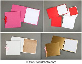 szürke, színes, felett, gyűjtés, háttér., boríték, kártya