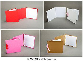 szürke, színes, felett, gyűjtés, háttér., kártya