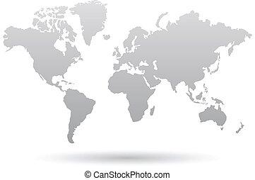 szürke, világ térkép