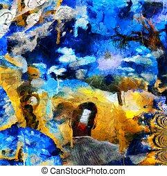 szürrealista, táj, festett