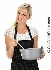 szőke, bájos, főzés, nő