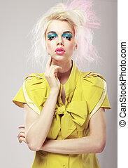 szőke, deco., művészet, feltűnő, makeup., ragyogás, élénk, nő, haj