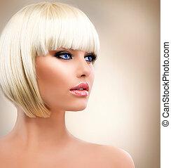 szőke, leány, portrait., szőke, hair., hairstyle., elegáns,...