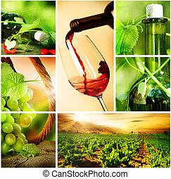 szőlő, bor., gyönyörű, kollázs