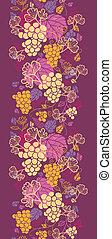 szőlő, függőleges, motívum, seamless, szőlőtőke, háttér, kellemes, határ
