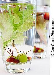szőlő, sok, víz pohár, bogyó, díszes