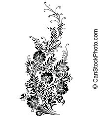 szőlőtőke, elvont, -, vektor, fekete, virágos