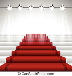 szőnyeg, reflektorfény, piros, alatt