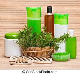 szőr törődik, természetes, segédszervek, kozmetikum
