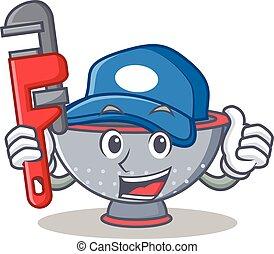 szűrő, eszköz, vízvezeték szerelő, betű, karikatúra