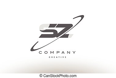 sz s z  swoosh grey alphabet letter logo
