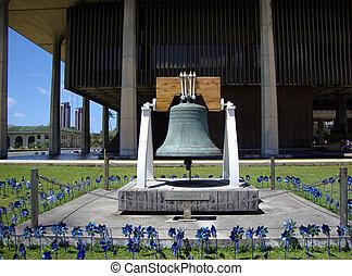 szabadság, csengő, blue, fogaskerekek, előtt, a, hawaii megállapít, kongresszus székháza washingtonban