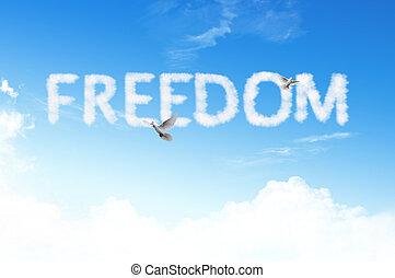szabadság, szó, felhő, képben látható, a, ég