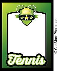 szablon, afisz, tenis, lekkoatletyka, listek, tło, albo