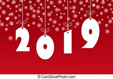 szablon, dla, szczęśliwy nowy rok, 2019, czerwone tło, z, płatki śniegu