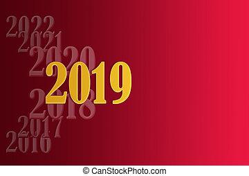 szablon, dla, tworzenie, powitania, z, przedimek określony przed rzeczownikami, nowy rok, 2019, na, niejaki, nachylenie, czerwone tło, i, miejsce, dla, na, napis