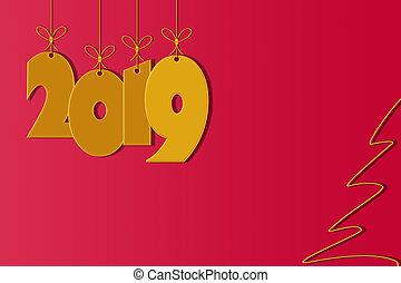 szablon, dla, tworzenie, powitania, z, przedimek określony przed rzeczownikami, nowy rok, 2019, czerwone tło, miejsce, dla, napis