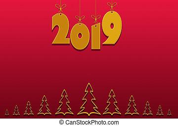 szablon, dla, tworzenie, powitania, z, przedimek określony przed rzeczownikami, nowy rok, 2019, nachylenie, czerwone tło, miejsce, dla, napis